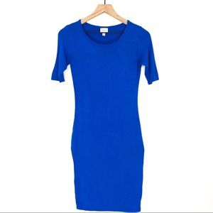 LuLaRoe Solid Blue Knee Length Julia Knit Dress